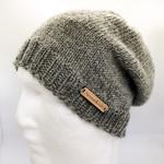 Women or men grey wool knit beanie