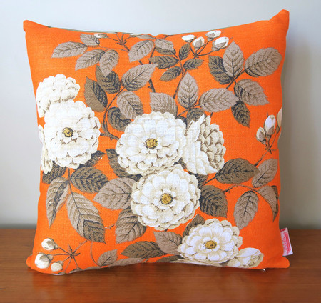 Vintage Retro White Flowers on Orange Cushion