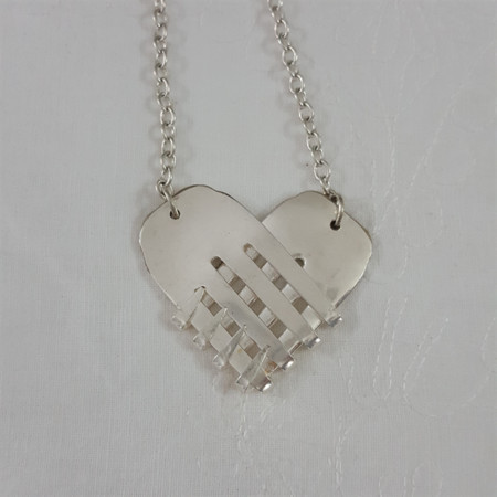 Necklace made from vintage silver plated forks