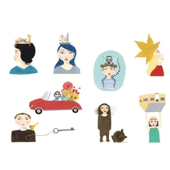 Eight quirky people postcards.