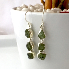 Raw Natural PERIDOT, 925 Sterling Silver 4cm Long Earrings.