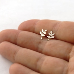 Silver Vine Leaf Stud Earrings, Handcrafted Sterling Silver Leaf Earrings