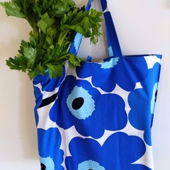 Foldable eco bag -TYPE A / BLUE - FLOWER / reusable tote / eco friendly