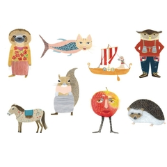 Eight quirky characters postcards.