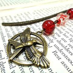 Bronze Bird Bookmark with Red Beads