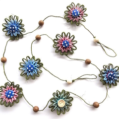 Hemp Twine Paper Raffia Flower Hanging Garland Retro Button Decoration