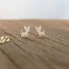 Chihuahua Stud Earrings Sterling Silver