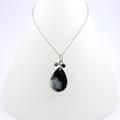 Black & grey teardrop resin necklace