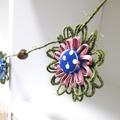 Hemp Twine Paper Raffia Flower Hanging Garland Retro Button Decoration