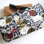 Clutch bag, travel nappy wallet, handbag navy floral print