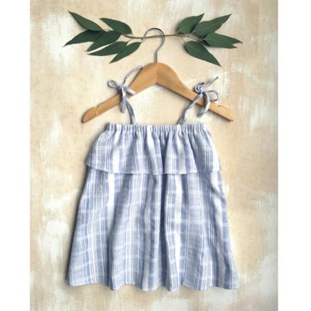 Girls Cotton Summer Ruffle Dress - Blue/White Stripe  Sizes 1-2, 3-4 & 5-6 years