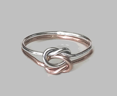 Rose gold and silver double love knot ring, Celtic knot ring, two tone ring