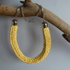 Buttercup yellow knitted necklace on silver chain