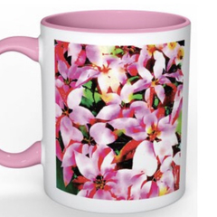 Art Mug - watercolour print on white mug with pink inside- Flower mug - Pink Poi