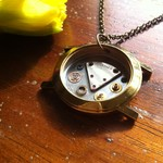 Magic - unusual golden steampunk necklace; necklace full of watch parts. OOAK.