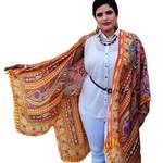 Orange Silk Kimono Jacket,  Plus Size Beachwear Bikini Cover Up