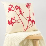 Cushion cover with Kangaroo Paw print in red. 40cm square.