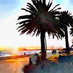 Watercolor Print - Sunset at St Kilda Beach - Australia
