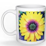 Art Mug - watercolour print on white mug - Flower mug - Yellow Daisy