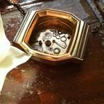 Words - gorgeous golden, retro style pendant. Watch casing necklace.