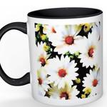 Art Mug - watercolour print on white mug with black inside- Flower mug - White D