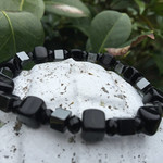 Cube Bracelet with Hematite and Black Czech Glass Cubes