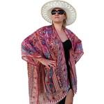 Brown Silk Kimono Jacket, Tan Cover Up, Plus Size Beige Beachwear Bikini CoverUp
