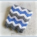 Grey, Blue & White Chevron Newborn Hand Crocheted Chevron Baby Blanket