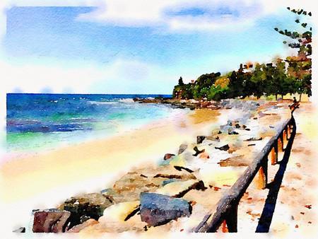 Watercolor Print - Moffat Beach - Seascape