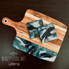 Teal, White and Silver Resin Cheese Board, Wood Serving Board, Drink Coaster Set