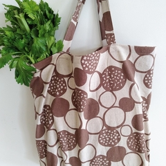 Foldable eco bag / BEIGE - Lotus Flower /