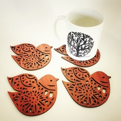 Nordic Bird Jarrah Coasters (set of 4)