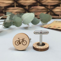 Personalised, Secret message wooded cufflinks for Father's Day - bike riding