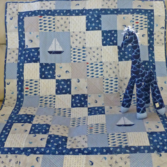 Cot quilt and giraffe nautical theme - unisex, baby gift