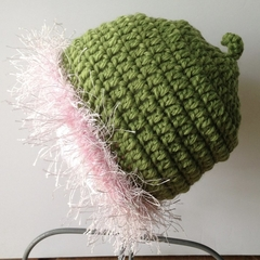 Gumnut Blossom Pink/Green Crochte Hat - fit baby - 3 - 6 months old