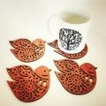 Nordic Bird Jarrah Coasters (set of 4)