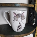 hand painted bone china mug with cats