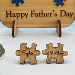 Personalised bamboo cufflinks for Father's Day - Puzzle Pieces