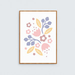 Pink and Purple Floral Children's Print / Pretty Illustrated Flowers Wall Art