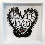 """You Are Loved"" framed papercut"
