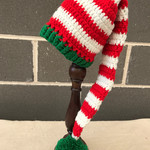 Christmas Beanie, Long tail elf hat crochet newborn long tail hat photography pr