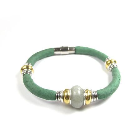 Labradorite bracelet, Recycled fabric jewellery, Silk bracelet, Magnetic clasp