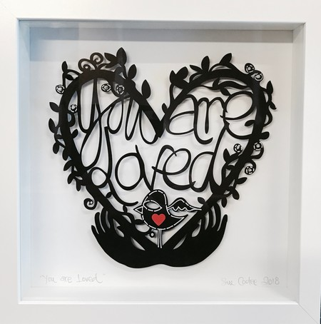 """""""You Are Loved"""" framed papercut"""