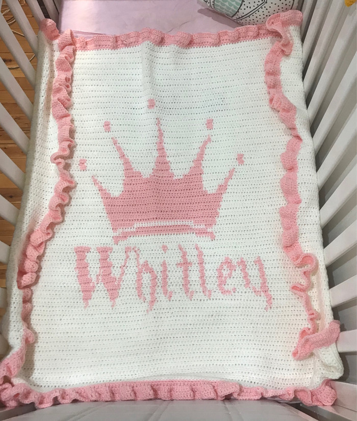 Crochet Princess Blanket With Ruffle Edging Baby Blanket Child