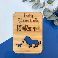 Personalised laser cut wooden card - You're Roarsome - lion