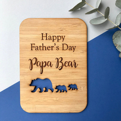 Personalised laser cut wooden card - Papa Bear