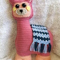 Pink Ragdoll Crochet Llama Pillow Toy - Alpaca, Nursery, Cute, Gift, Baby