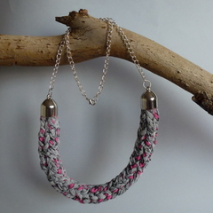 Grey, pink black french knitted necklace