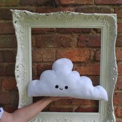 White Smiling Cloud Pillow, Felt Kawaii Large Cushion