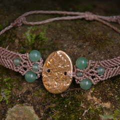 Fern Charm Bracelet Lemon Brass with Green Adventurine Beads